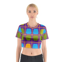 Shapes in squares pattern Cotton Crop Top