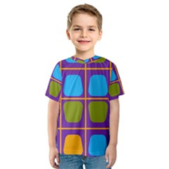 Shapes In Squares Pattern Kid s Sport Mesh Tee