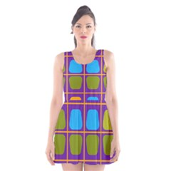 Shapes In Squares Pattern Scoop Neck Skater Dress