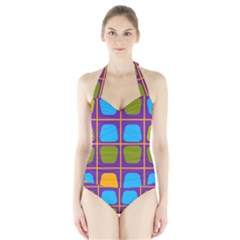 Shapes In Squares Pattern Women s Halter One Piece Swimsuit