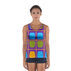Shapes in squares pattern Women s Sport Tank Top