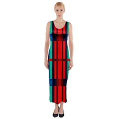 Stripes and rectangles  Fitted Maxi Dress
