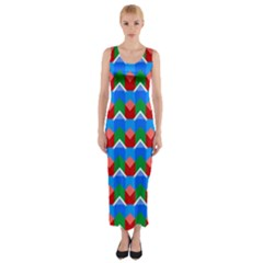 Shapes Rows Fitted Maxi Dress
