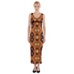 Brown leaves pattern Fitted Maxi Dress