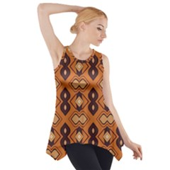 Brown Leaves Pattern Side Drop Tank Tunic
