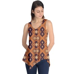 Brown leaves pattern Sleeveless Tunic
