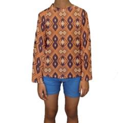Brown Leaves Pattern  Kid s Long Sleeve Swimwear