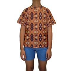 Brown leaves pattern  Kid s Short Sleeve Swimwear
