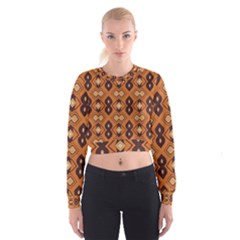 Brown leaves pattern   Women s Cropped Sweatshirt