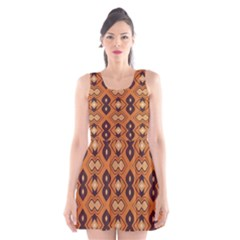 Brown leaves pattern Scoop Neck Skater Dress