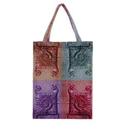 Vintage Flower Squares Classic Tote Bag