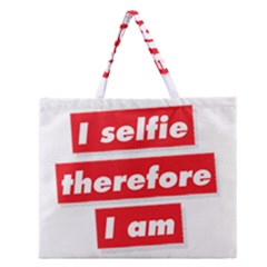 I Selfie Therefore I Am Zipper Large Tote Bag