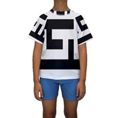 Black and White Kid s Short Sleeve Swimwear