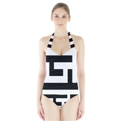 Black and White Women s Halter One Piece Swimsuit