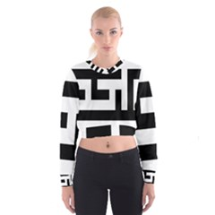 Black and White Women s Cropped Sweatshirt