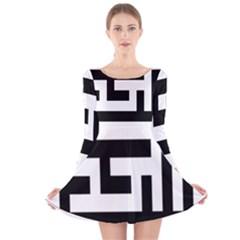 Black and White Long Sleeve Velvet Skater Dress