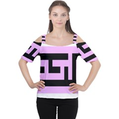Black and Pink Women s Cutout Shoulder Tee