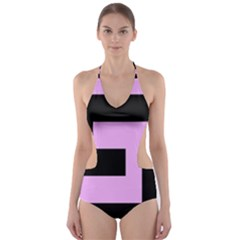 Black And Pink Cut Out One Piece Swimsuit