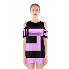 Black and Pink Cutout Shoulder Dress