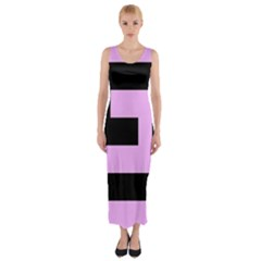 Black and Pink Fitted Maxi Dress