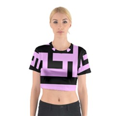 Black and Pink Cotton Crop Top
