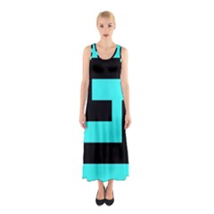 Black and Teal Full Print Maxi Dress