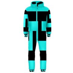 Black And Teal Hooded Jumpsuit (men)