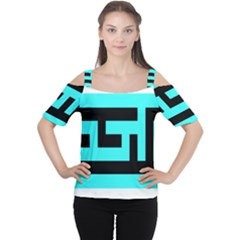 Black and Teal Women s Cutout Shoulder Tee