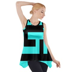 Black and Teal Side Drop Tank Tunic