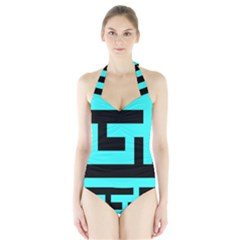 Black and Teal Women s Halter One Piece Swimsuit