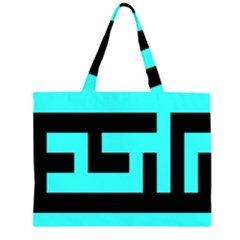 Black and Teal Large Tote Bag