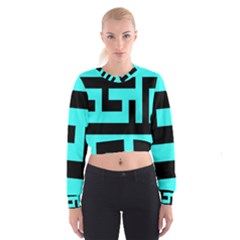 Black And Teal Women s Cropped Sweatshirt