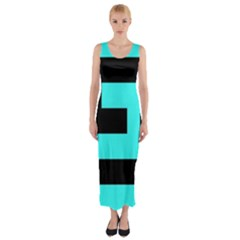 Black And Teal Fitted Maxi Dress