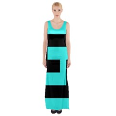 Black and Teal Maxi Thigh Split Dress