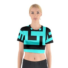 Black And Teal Cotton Crop Top