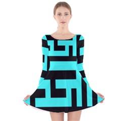 Black and Teal Long Sleeve Velvet Skater Dress