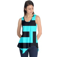 Black and Teal Sleeveless Tunic