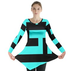 Black and Teal Long Sleeve Tunic