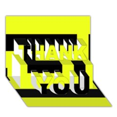 Black And Yellow Thank You 3d Greeting Card (7x5)