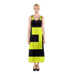 Black and Yellow Full Print Maxi Dress