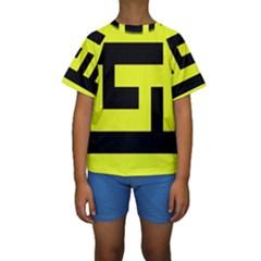 Black and Yellow Kid s Short Sleeve Swimwear
