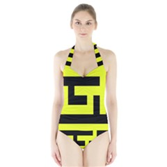Black and Yellow Women s Halter One Piece Swimsuit