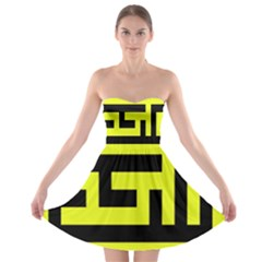 Black And Yellow Strapless Dresses