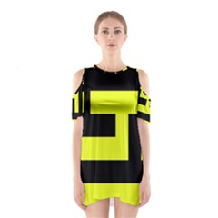 Black And Yellow Cutout Shoulder Dress
