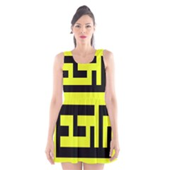 Black And Yellow Scoop Neck Skater Dress