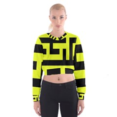 Black and Yellow Women s Cropped Sweatshirt