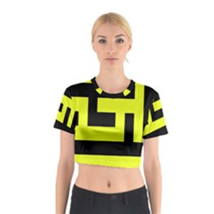 Black and Yellow Cotton Crop Top