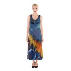 Space Balls Full Print Maxi Dress