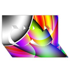Psychedelic Design Twin Hearts 3d Greeting Card (8x4)