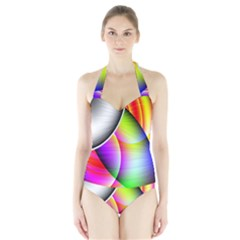 Psychedelic Design Women s Halter One Piece Swimsuit